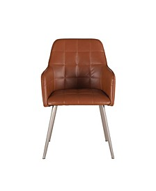 "Hudson Eco-Friendly Leather Arm Chair with Steel Legs - 22.5"" x 21"" x 33.5"""