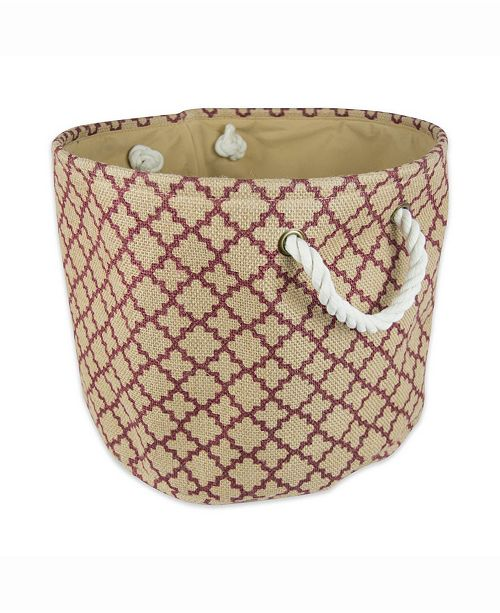 Design Imports Burlap Bin Lattice, Round