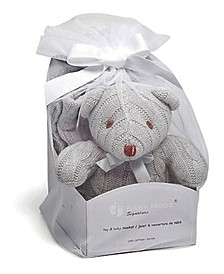 3 Stories Trading Cable Knit Bear With Baby Blanket Gift Set
