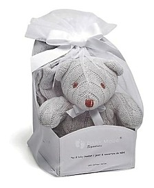 3Stories Cable Knit Bear With Baby Blanket Gift Set