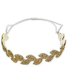 INC Gold-Tone Crystal Leaf Stretch Headband, Created for Macy's