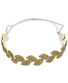 I.N.C. Gold-Tone Crystal Leaf Stretch Headband, Created for Macy's
