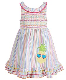 Toddler Girls Smocked Seersucker Dress