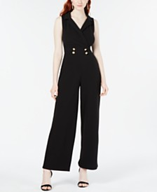 Almost Famous Juniors' Button-Detail Jumpsuit