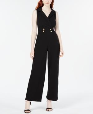 Almost Famous Juniors' Button-Detail Jumpsuit In Black