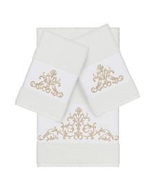 Linum Home Turkish Cotton Scarlet 3-Pc. Embellished Towel Set