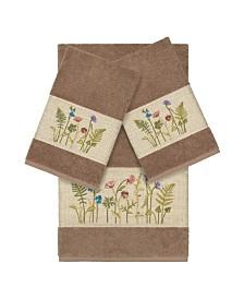 Linum Home Turkish Cotton Serenity 3-Pc. Embellished Towel Set