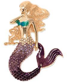 Anne Klein Gold-Tone Pavé Mermaid Pin, Created for Macy's