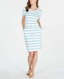 Charter Club Petite Striped Terry Drawstring Dress, Created for Macy's