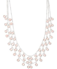"Anne Klein Stone Triple-Row Shaky Necklace, 17"" + 3"" extender"