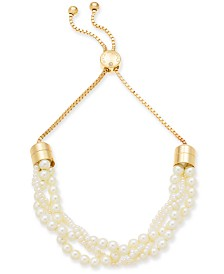 "Charter Club Gold-Tone Imitation Pearl Multi-Strand 11"" Slider Necklace, Created for Macy's"