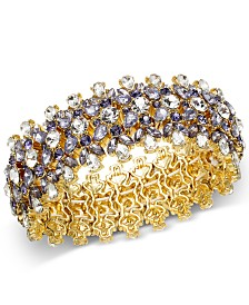 Charter Club Gold-Tone Purple Crystal Stretch Bracelet, Created for Macy's