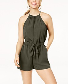 Juniors' Sleeveless Tie-Front Romper