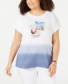 Tommy Hilfiger Plus Size Ombré Polaroid T-Shirt, Created for Macy's