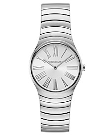Ladies Round Silver Stainless Steel Bracelet Watch, 33mm