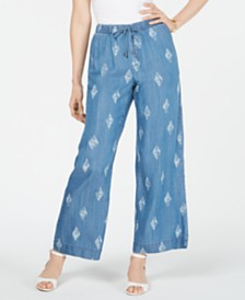 Style & Co Printed Wide-Leg Pull-On Pants, Created for Macy's