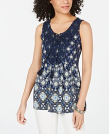 Style & Co Printed Lace-Up Sleeveless Top, Created for Macy's