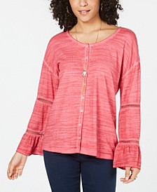 Tiered Sleeve Button-Up Top, Created for Macy's