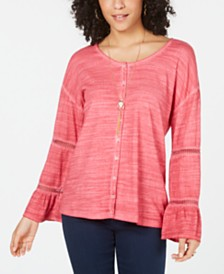 Style & Co Tiered Sleeve Button-Up Top, Created for Macy's