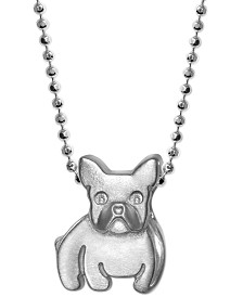 "Alex Woo Diamond Accent French Bulldog 16"" Pendant Necklace in Sterling Silver"