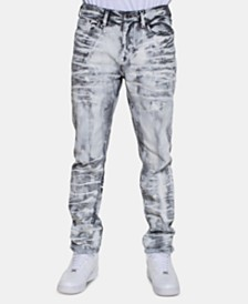 Sean John Men's Retna Straight-Fit Stretch Paint-Print Jeans