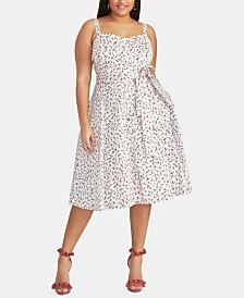 RACHEL Rachel Roy Trendy Plus Size Ditsy Floral Midi Dress