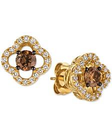 Chocolatier® Diamond Clover Stud Earrings (5/8 ct. t.w.) in 14k Gold