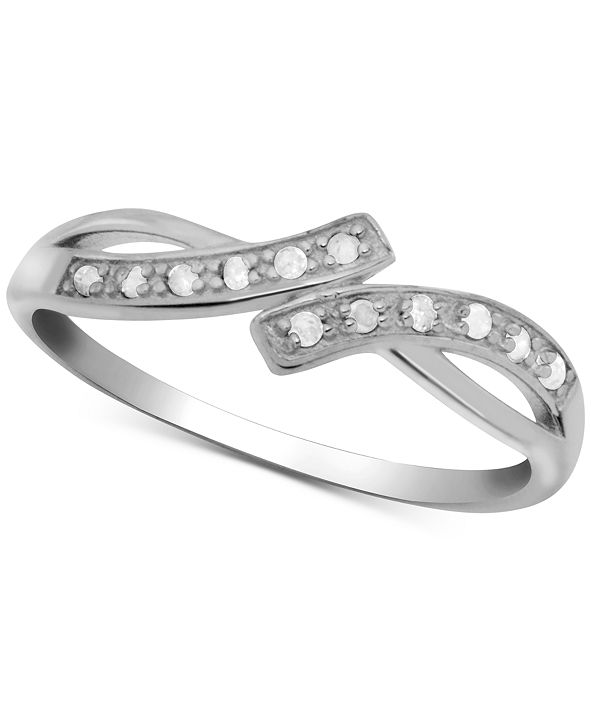 Macy's Diamond Bypass Statement Ring (1/10 ct. t.w.) in Sterling Silver