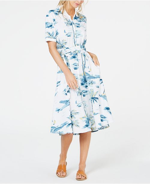 Lacoste Cotton Hawaiian-Print Shirtdress