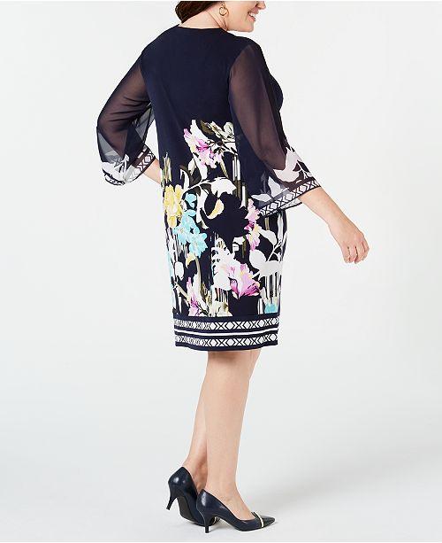 de Size Robe imprimee manches a pourAvis Robes mousseline Garden Plus Collection Tailles fourreau en Jm Illusion soieCree FKJlc1