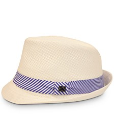 Sean John Men's 2-Stripe Knot Straw Hat, Created for Macy's