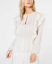 Rachel Zoe Felicia Ruffled Cutout-Trim Top