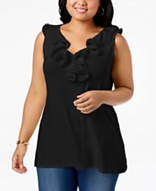 Belldini Plus Size Ruffle-Trim Sleeveless Tunic