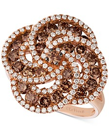 Le Vian Chocolatier® Diamond Swirl Cluster Statement Ring (1-5/8 ct. t.w.) in 14k Rose Gold