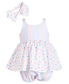 Bonnie Baby Baby Girls Stripe & Dot Bubble Romper