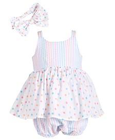 Bonnie Baby Baby Girls Stripe & Dot Bubble Romper