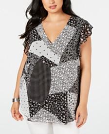 Calvin Klein Plus Size Patchwork-Print Flutter-Sleeve Top