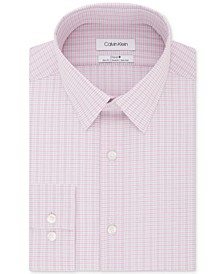 Calvin Klein Men's STEEL Slim-Fit Non-Iron Performance Stretch Pink Check Dress Shirt