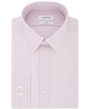 Calvin Klein Men's Steel Slim-Fit Non-Iron Performance Stretch Pink Check Dress Shirt