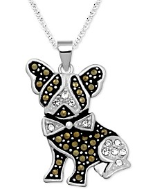 "Marcasite & Crystal French Bulldog Pendant 18"" Pendant Necklace in Fine Silver-Plate"