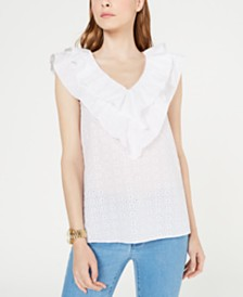 MICHAEL Michael Kors Cotton Eyelet Ruffle Top