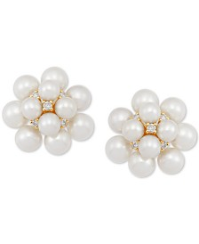 Cultured Freshwater Pearl (3-5mm) & Diamond (1/10 ct. t.w.) Stud Earrings in 14k Gold