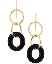 Onyx (15 x 3-1/2mm) Triple Ring Drop Earrings in 10k Gold