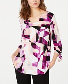 Alfani Petite Printed Tie-Sleeve Top, Created for Macy's