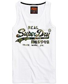 Superdry Men's Vintage Layered Camo Logo Graphic Tank