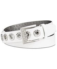 DKNY Pebbled Faux Leather Grommet Belt