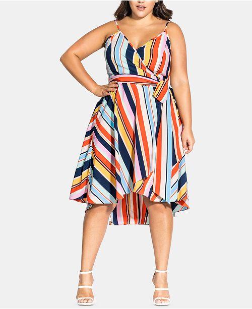 City Chic Trendy Plus Size Striped Wrap Dress