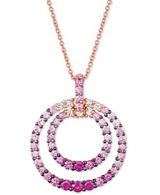 """Le Vian Strawberry Layer Cake® Bubblegum Pink Sapphires (1-1/5 ct. t.w.) & Vanilla Sapphires (1/8 ct. t.w.) 18"""" Pendant Necklace in 14k Rose Gold"""