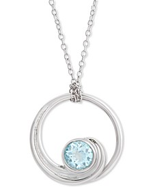 """Blue Topaz Wave 18"""" Pendant Necklace (1 ct. t.w.) in Sterling Silver"""