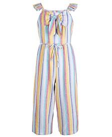Sequin Hearts Big Girls Striped Linen Jumpsuit